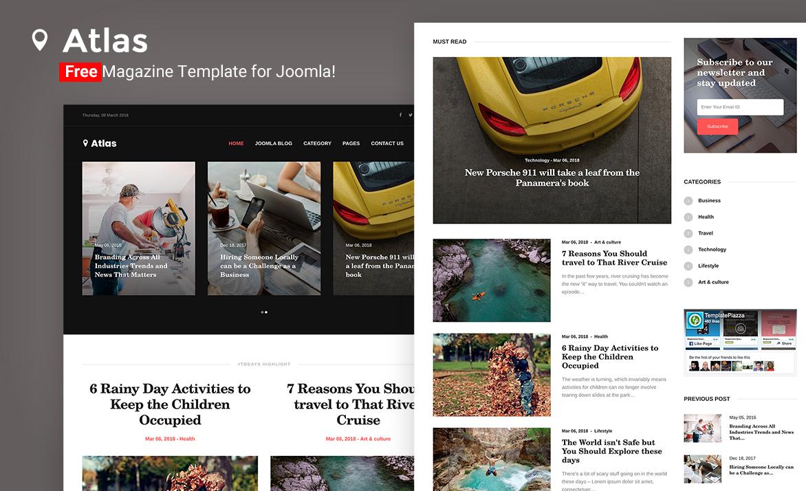 Atlas Free Magazine Joomla Template